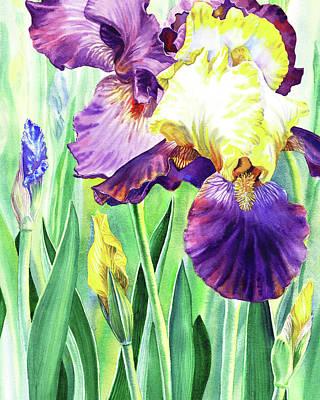 Painting - Watercolor Iris Flowers by Irina Sztukowski