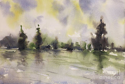 Watercolor Landscape- Lake And Evergreens Original
