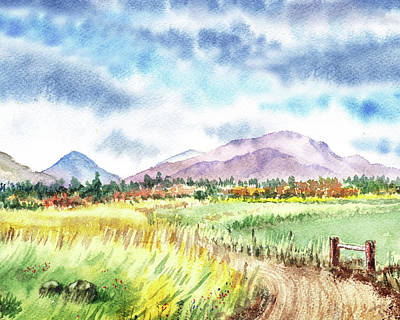 Mountain Royalty-Free and Rights-Managed Images - Watercolor Landscape Path To The Mountains by Irina Sztukowski