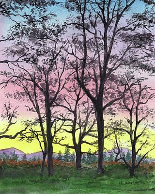 Painting - Watercolor Landscape Sunrise In The Mountains by Irina Sztukowski