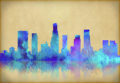 Art Print featuring the digital art Watercolor Los Angeles Skylines On An Old Paper by Georgeta Blanaru