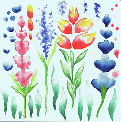 Painting - Watercolor Magic Flowers Magic Garden For Baby Room by Irina Sztukowski