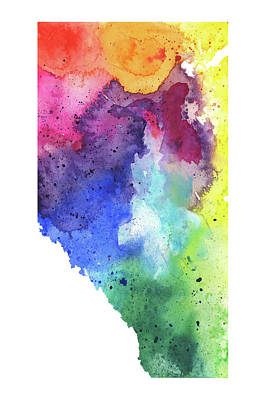 Watercolor Map Of Alberta, Canada In Rainbow Colors  Original by Andrea Hill