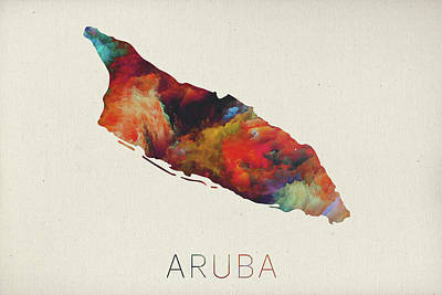 Watercolor Map Of Aruba Art Print by Design Turnpike