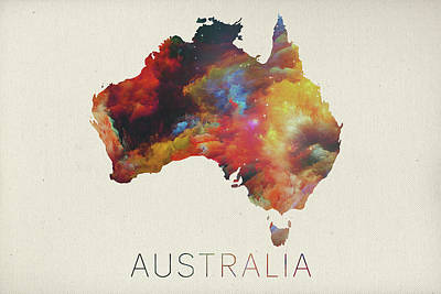 Watercolor Map Mixed Media - Watercolor Map Of Australia by Design Turnpike