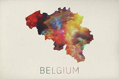 Belgium Mixed Media - Watercolor Map Of Belgium by Design Turnpike