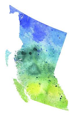Watercolor Map Of British Columbia, Canada In Blue And Green  Original