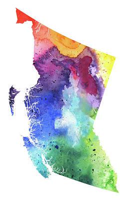 Watercolor Map Of British Columbia, Canada In Rainbow Colors  Original