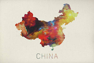 Watercolor Map Mixed Media - Watercolor Map Of China by Design Turnpike