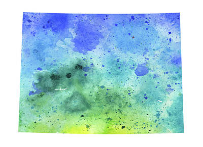 Digitally Generated Image Drawing - Watercolor Map Of Colorado,  In Blue And Green  by Andrea Hill