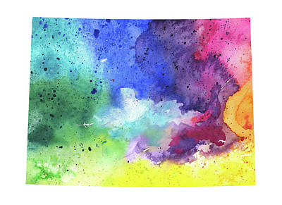 Watercolor Map Drawing - Watercolor Map Of Colorado, In Rainbow Colors  by Andrea Hill