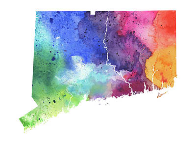 Watercolor Map Of Connecticut,  In Rainbow Colors  Original by Andrea Hill