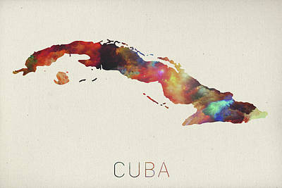 Cuba Mixed Media - Watercolor Map Of Cuba by Design Turnpike