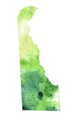 Watercolor Map Of Delaware,  In Green  Original by Andrea Hill