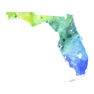 Watercolor Map Of Florida,  In Blue And Green  Original by Andrea Hill