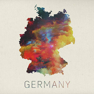 Watercolor Map Of Germany Art Print by Design Turnpike