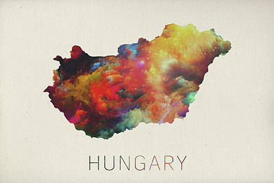 Watercolor Map Mixed Media - Watercolor Map Of Hungary by Design Turnpike