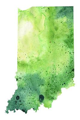 Watercolor Map Of Indiana,  In Green  Art Print