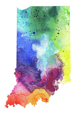 Watercolor Map Of Indiana,  In Rainbow Colors  Art Print