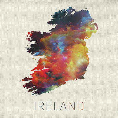 Vector Mixed Media - Watercolor Map Of Ireland by Design Turnpike