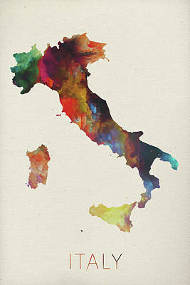 Vector Mixed Media - Watercolor Map Of Italy by Design Turnpike