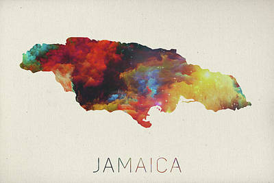 Jamaica Mixed Media - Watercolor Map Of Jamaica by Design Turnpike