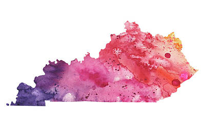 Watercolor Map Of Kentucky,  In Orange, Red And Purple  Original by Andrea Hill