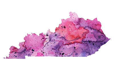 Watercolor Map Of Kentucky,  In Pink And Purple  Original by Andrea Hill