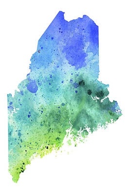 Watercolor Map Of Maine,  In Blue And Green  Original by Andrea Hill