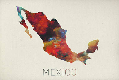 Watercolor Map Mixed Media - Watercolor Map Of Mexico by Design Turnpike