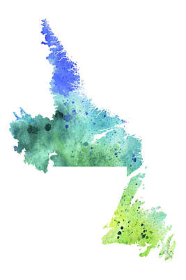 Watercolor Map Of Newfoundland And Labrador, Canada In Green And Blue  Original by Andrea Hill