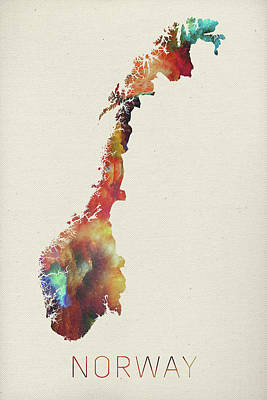 Vector Mixed Media - Watercolor Map Of Norway by Design Turnpike