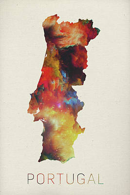 Vector Mixed Media - Watercolor Map Of Portugal by Design Turnpike