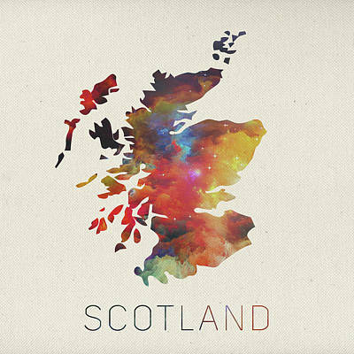 Vector Mixed Media - Watercolor Map Of Scotland by Design Turnpike