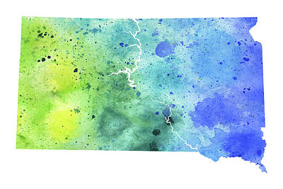 Watercolor Map Of South Dakota,  In Blue And Green  Art Print by Andrea Hill