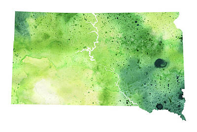 Watercolor Map Of South Dakota,  In Green  Art Print by Andrea Hill