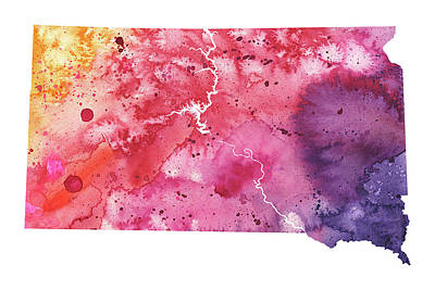 Watercolor Map Of South Dakota,  In Orange, Red And Purple  Art Print by Andrea Hill