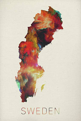 Sweden Mixed Media - Watercolor Map Of Sweden by Design Turnpike