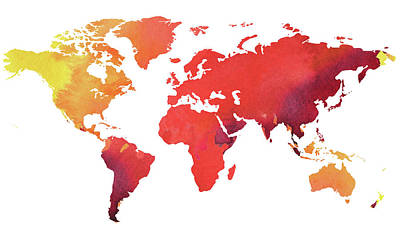 Painting - Watercolor Map Of The World Heated by Irina Sztukowski