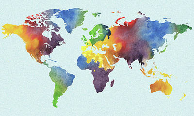Painting - Watercolor Map Of The World Map Watercolour Silhouette by Irina Sztukowski