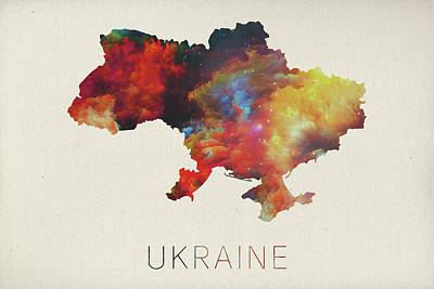 Watercolor Map Mixed Media - Watercolor Map Of Ukraine by Design Turnpike
