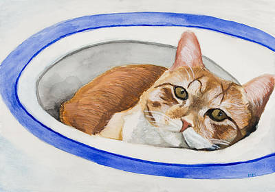 Orange Tabby Painting - Cat In Sink by Marcella Morse