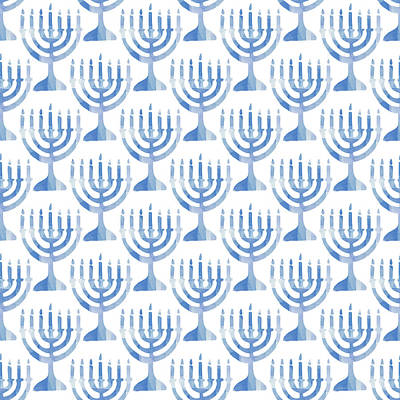 Corporate Digital Art - Watercolor Menorahs- Art By Linda Woods by Linda Woods