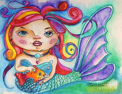 Mixed Media - Watercolor Mermaidia Mermaid Painting by Shelley Overton