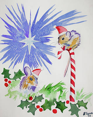 Painting - Watercolor - Merry Christmas Mice by Cascade Colors