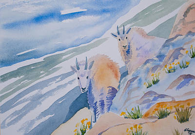 Art Print featuring the painting Watercolor - Mountain Goats On Quandary by Cascade Colors