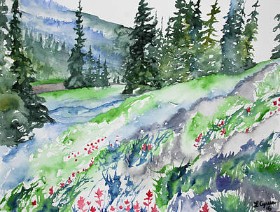 Painting - Watercolor - Mountain Pines And Indian Paintbrush by Cascade Colors