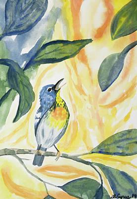 Watercolor - Northern Parula In Song Original