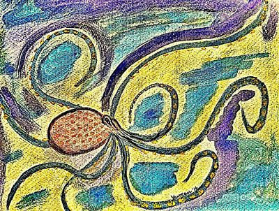 Giant Squid Painting - Watercolor Octopus Painting - Digitally Colored by Scott D Van Osdol