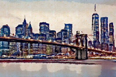 Painting - Watercolor Of Manhattan Skyline - Doc Braham - All Rights Reserved by Doc Braham